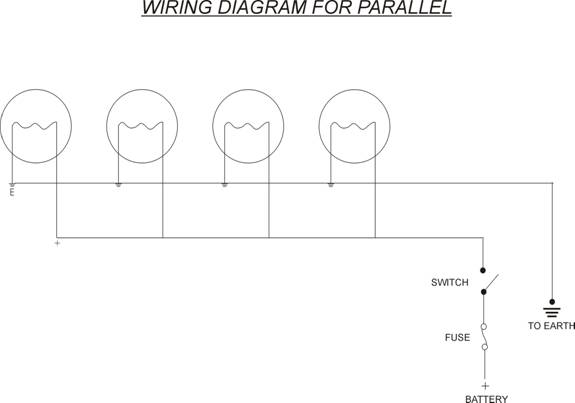 WIRING DIAGRAM FOR PARALLEL LIGHTING. Parallel draws more from your battery but will make performance better. 6Volters I think are better to use series ...  sc 1 st  Lambretta Club of Great Britain : wiring lights in series - yogabreezes.com